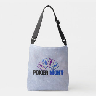 Poker Night with Playing Cards on Marble Texture Crossbody Bag