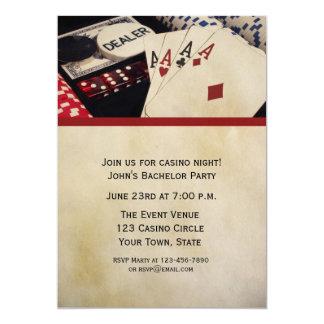 Poker Party 13 Cm X 18 Cm Invitation Card