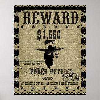 Poker Pete Reward Poster