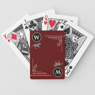 poker-player personalized initial with horses bicycle playing cards