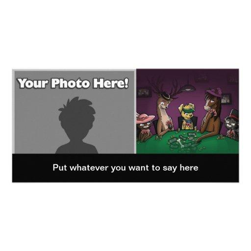 Poker Playing Animals Customized Photo Card