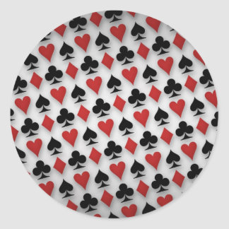 Poker Playing Cards Pattern Design Classic Round Sticker