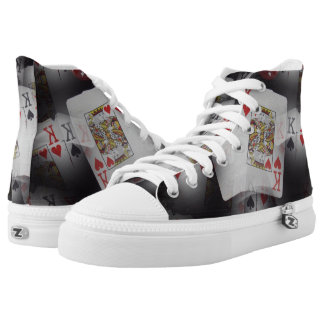 Poker, Quad Kings Pattern, Hightops Zip Sneakers