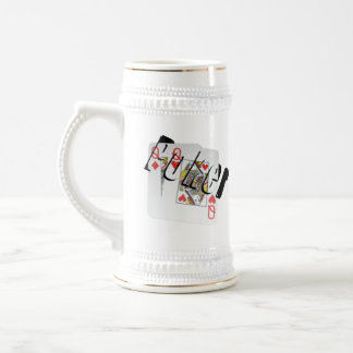 Poker Queens Dimensional Logo, Beer Stein Mug.