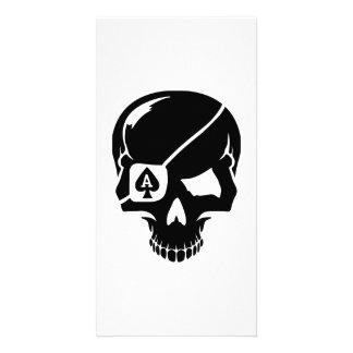 Poker skull ace customized photo card