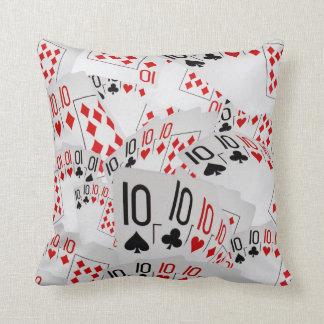 Poker, Tens In A Layered Pattern Throw Cushion