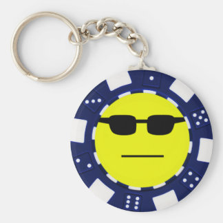 pokerface blue basic round button key ring