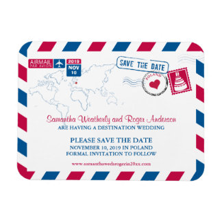 POLAND Air Mail Wedding Save the Date 3x4 Rectangular Photo Magnet