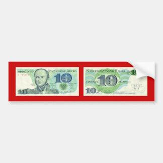 Poland Banknote 10 zloty Bumper Sticker
