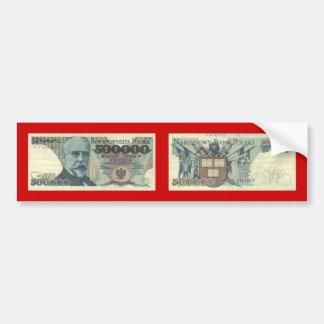 Poland Banknote 500 000 zloty Bumper Sticker