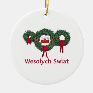 Poland Christmas 2 Ceramic Ornament
