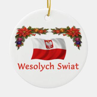 Poland Christmas Ceramic Ornament