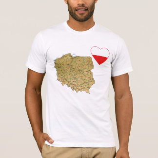 Poland Flag Heart and Map T-Shirt