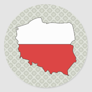 Poland Flag Map full size Round Sticker