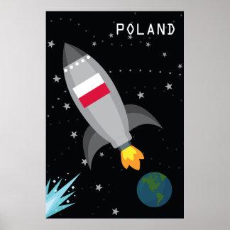 Poland Flag Rocket Ship Poster