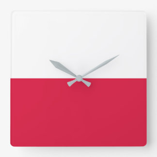 Poland Flag Square Wall Clock