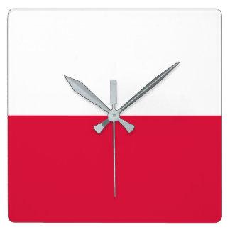 Poland Flag Square Wall Clock