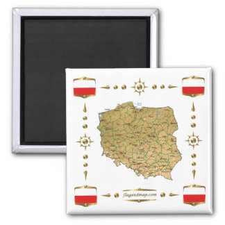 Poland Map + Flags Magnet