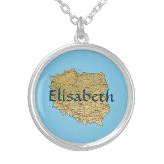 Poland Map + Name Necklace
