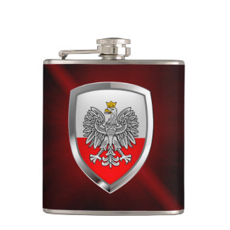 Poland Metallic Emblem Hip Flask