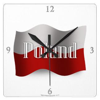 Poland Waving Flag Wall Clocks