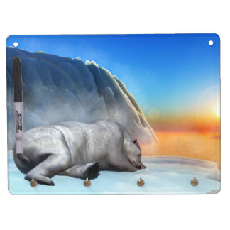 Polar bear - 3D render Dry Erase Board With Key Ring Holder