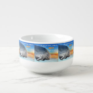 Polar bear - 3D render Soup Bowl With Handle