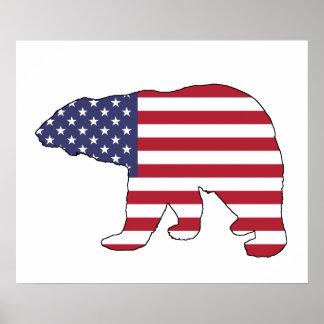 "Polar bear ""American Flag"" Poster"