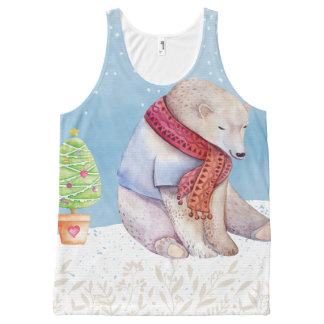 Polar Bear and Christmas Tree in the Snow All-Over Print Singlet