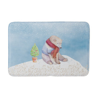 Polar Bear and Christmas Tree in the Snow Bath Mat