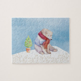 Polar Bear and Christmas Tree in the Snow Jigsaw Puzzle