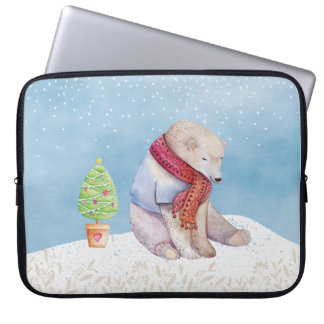 Polar Bear and Christmas Tree in the Snow Laptop Sleeve