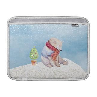 Polar Bear and Christmas Tree in the Snow Sleeve For MacBook Air