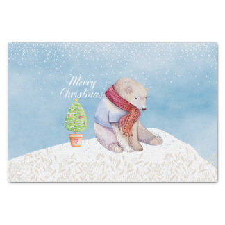 Polar Bear and Christmas Tree in the Snow Tissue Paper