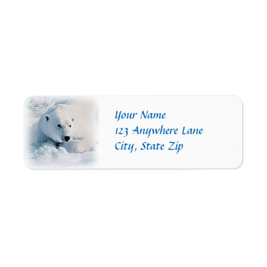 Polar Bear and Snow Return Address Label