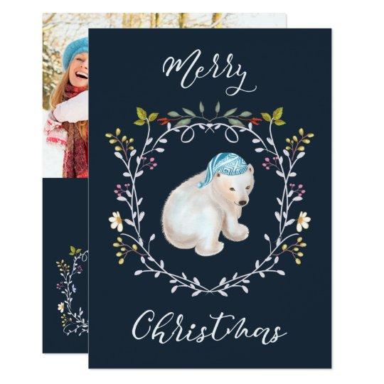 Polar Bear and Wreath Photo Christmas Card