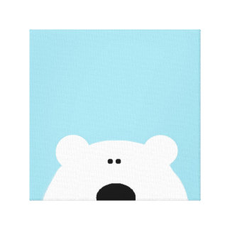Polar Bear Art Blue Canvas Print