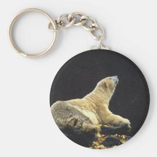 Polar Bear Attitude Basic Round Button Key Ring