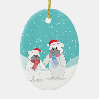 polar bear B Ceramic Ornament