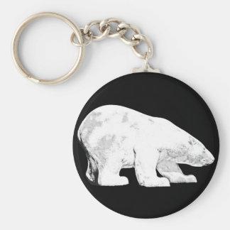 Polar Bear, Black Background (6) Key Ring
