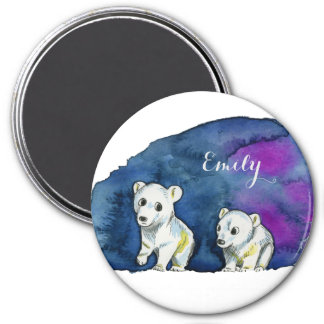 Polar Bear Brothers Watercolor Painting 7.5 Cm Round Magnet