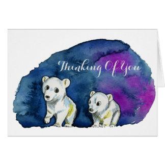 Polar Bear Brothers Watercolor Painting Card