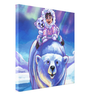 Polar Bear Bus Stretched Canvas Prints