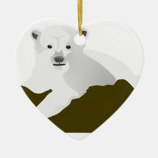 Polar Bear Cartoon Ceramic Ornament