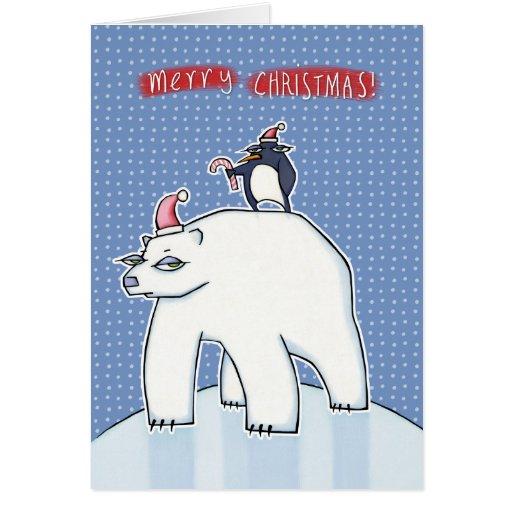 Polar Bear Christmas blue Card