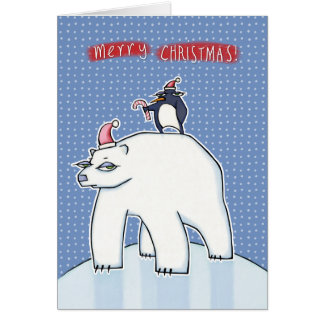 Polar Bear Christmas blue Greeting Card