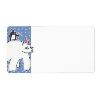 Polar Bear Christmas blue white Gift Tag Shipping Label