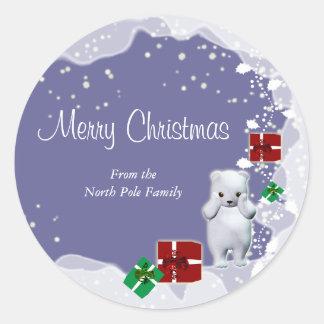 Polar bear christmas greeting elegant classic round sticker