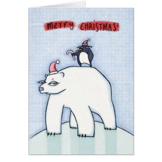 Polar Bear Christmas snow Greeting Card