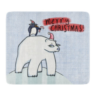 Polar Bear Christmas snow Glass Cutting Board